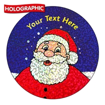 Personalised Holographic Santa Stickers (72 Stickers - 35mm)