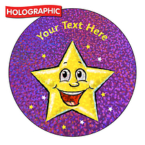 Personalised Holographic Smiley Star Stickers (72 Stickers - 35mm)