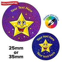 Personalised Holographic Smiley Star Stickers