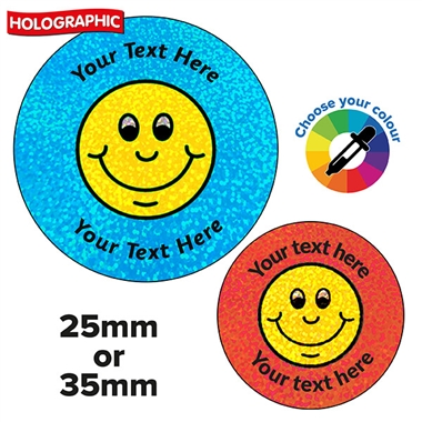 Personalised Holographic Smiley Stickers