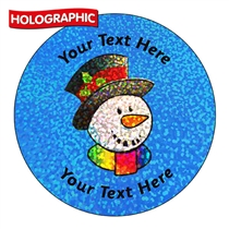 Personalised Holographic Snowman Stickers (72 Stickers - 35mm)