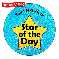 Personalised Holographic Star of the Day Stickers (72 Stickers - 35mm)