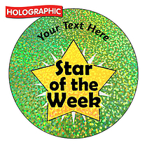 Personalised Holographic Star of the Week Stickers (72 Stickers - 35mm)