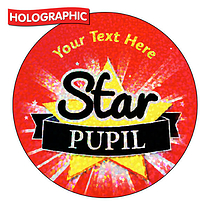 Personalised Holographic Star Pupil Stickers (72 Stickers - 35mm)