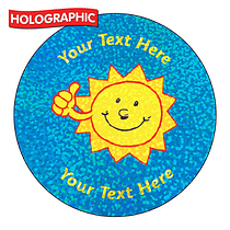 Personalised Holographic Sunshine Stickers (72 Stickers per set - 35mm)