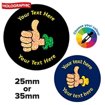 Personalised Holographic Thumbs Up Stickers