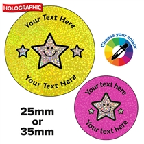 Personalised Holographic Triple Star Stickers