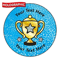Personalised Holographic Trophy Stickers (72 Stickers per set - 35mm)