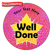 Personalised Holographic Well Done Star Stickers (72 Stickers - 35mm)