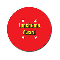 Personalised Lunchtime Award Stickers - Red (70 per sheet - 25mm)