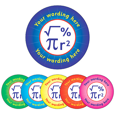 Personalised Maths Stickers (70 per sheet - 25mm)