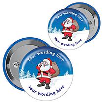 Personalised Merry Christmas Santa Badges x 10