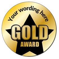 Personalised Metallic Gold Award Stickers (35 per sheet - 37mm)