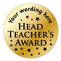 Personalised Metallic Head Teacher's Award Stickers (35 Stickers - 37mm)