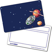 Personalised Outerspace Plastic Certificard (86mm x 54mm)