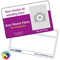 Personalised Photo ID Plastic Card -  Picture Right 86mm x 54mm)