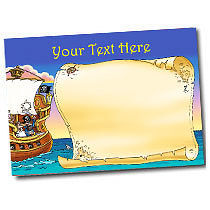 Personalised Pirate Ship Sticker Collector Card (A5)