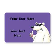 Personalised Polar Bear Stickers (32 per sheet - 46mm x 30mm)