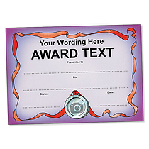 Personalised Purple Medal Certificate (A5) Brainwaves
