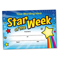 Personalised Rainbow Star of the Week Certificate (A5) Brainwaves