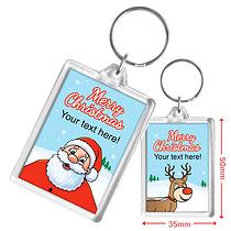 Personalised Santa & Reindeer Acrylic Keyring (50mm x 35mm)