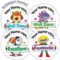 Personalised SCENTED Character Stickers - Bubblegum (35 Stickers - 37mm)