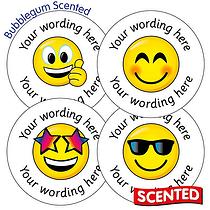 Personalised SCENTED Emoji Stickers - Bubblegum (35 Stickers - 37mm)