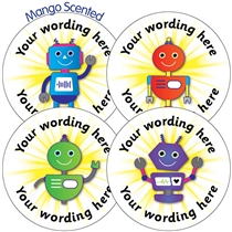 Personalised SCENTED Mango Robot Stickers (35 per sheet - 37mm)
