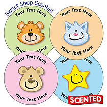 Personalised SCENTED Mixed Faces Stickers - Sweet Shop (35 Stickers - 37mm)
