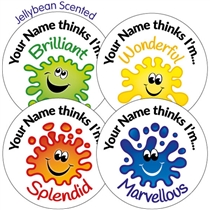 "Personalised SCENTED ""Mrs XX thinks I'm..."" Splash Stickers - Jellybean (35 Stickers - 37mm)"