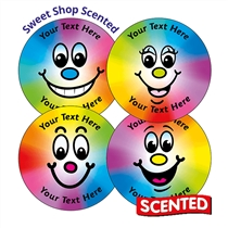 Personalised SCENTED Rainbow Smiles Stickers - Sweet Shop (35 Stickers - 37mm)