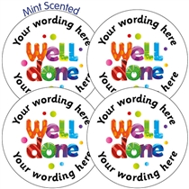 Personalised SCENTED Well Done Stickers - MINT (35 Stickers per sheet - 37mm)