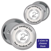 Personalised Second Badges - Silver (10 Badges)