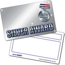 Personalised Silver Award Plastic CertifiCARD (86mm x 54mm)