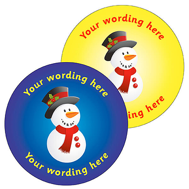 Personalised Snowman Stickers (35 per sheet - 37mm)