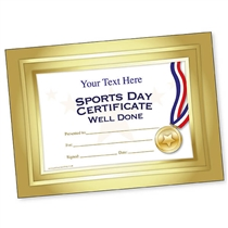 Personalised Sports Day Certificate - Gold (A5)