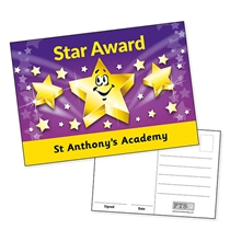 Personalised Star Award Postcard (A6 in size)