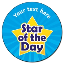 Personalised Star of the Day Stickers (35 per sheet - 37mm)