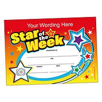 Personalised Star of the Week Certificate (A5) Brainwaves