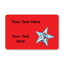 Personalised Star Stickers - Red (32 per sheet - 46mm x 30mm)