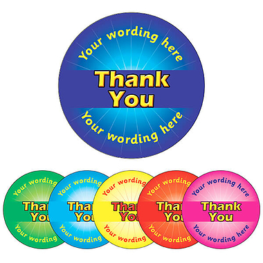 Personalised Thank You Stickers (70 per sheet - 25mm)