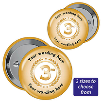 Personalised Third Badges - Gold (10 Badges)