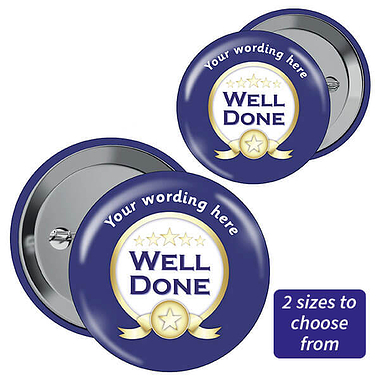 Personalised Well Done Badges - Blue (10 Badges)