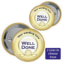 Personalised Well Done Badges - Gold (10 Badges)