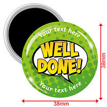Personalised Well Done Magnets - Green (10 Magnets - 38mm)