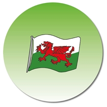 Personalised Welsh Flag Stickers (35 per sheet - 37mm)