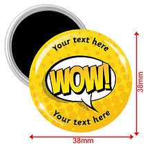 Personalised Wow Magnets - Yellow (10 Magnets - 38mm)