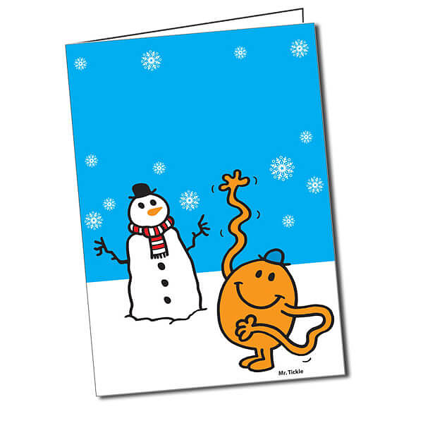 Mr Snowman On Christmas Is Getting Cold Coloring Page: Customised Mr Tickle Snowman Greeting Card