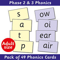 Phonics Cards Phase 2 & 3 - 90mm x 150mm (49 Cards)