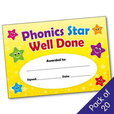 Phonics Star Well Done Certificates (20 Certificates - A5)
